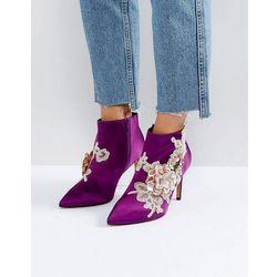 ASOS ELEGANCE Embellished Pointed Ankle Boots - Purple