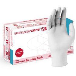 Rękawice nitrylowe Sempercare Nitrile Shine+, bezpudrowe, białe, 150 szt – roz. S