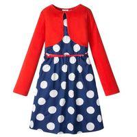 Zestawy odzieżowe dziecięce, Sukienka dziewczęca + pasek + bolerko (3 części) bonprix niebiesko-biały w kropki - czerwony