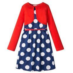 Sukienka dziewczęca + pasek + bolerko (3 części) bonprix niebiesko-biały w kropki - czerwony