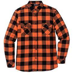 Koszula flanelowa z długim rękawem Slim Fit bonprix ciemnopomarańczowo-czarny w kratę