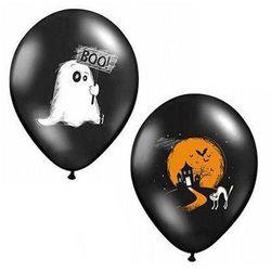 Balony czarne na Halloween - Duszek Boo - 37 cm - 50 szt.