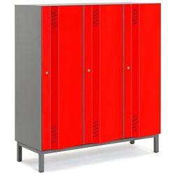 Szafa ubraniowa CREATE ENERGY, na nóżkach, 3 moduły, 1985x1200x500 mm, czerwony