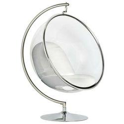 Fotel BUBBLE STAND poduszka biała - podstawa chrom, korpus akryl, poduszka ekoskóra