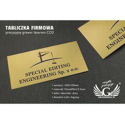 Tabliczka firmowa ze złotego aluminium - AlumaMark - wym. 250x120mm