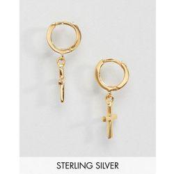 ASOS DESIGN Sterling Silver Gold Plated Cross Hoop Earrings - Silver