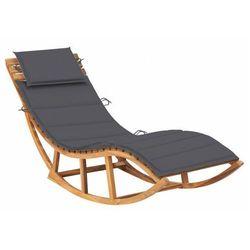 Ciemnoszary drewniany leżak ogrodowy z poduszką - Afis 3X