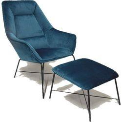 Fotel Adele z podnóżkiem niebieski aksamit