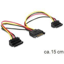 Delock Kabel SATA Zasilający SATA(M)-2x SATA(F), 15cm (60128) Darmowy odbiór w 19 miastach!