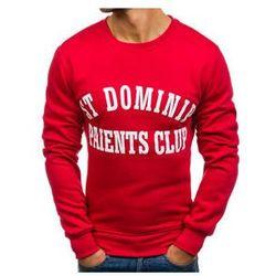 Bluza męska bez kaptura z nadrukiem czerwona Denley J50