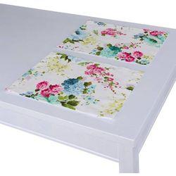 Dekoria Podkładka 2 sztuki, niebiesko-różowe kwiaty na białym tle, 40 x 30 cm, Monet