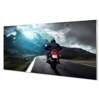 Obrazy, Obrazy akrylowe Motocykl góry droga człowiek niebo