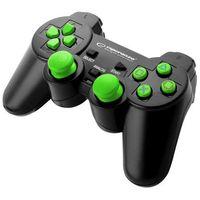 "Gamepady, Gamepad PS2/PS3/PC USB Esperanza ""Corsair"" czarno/zielony"