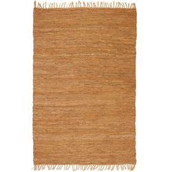 Ręcznie tkany dywanik Chindi, skóra, 120x170 cm, jasnobrązowy