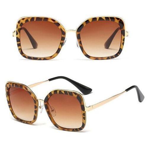Okulary przeciwsłoneczne, Okulary przeciwsłoneczne damskie złote panterka