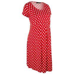 Sukienka ciążowa, krótki rękaw bonprix truskawkowo-biały w groszki