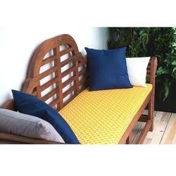 Ławka ogrodowa drewniana 180 cm poducha w żółty wzór TOSCANA Marlboro