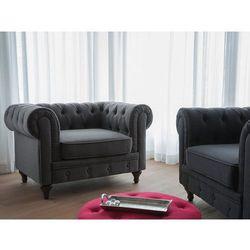 Fotel szary - wypoczynkowy - do salonu - tapicerowany - CHESTERFIELD