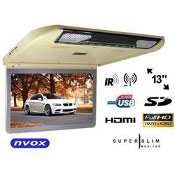 """NVOX VRF1343U BE Monitor samochodowy podwieszany podsufitowy LCD 13"""" cali HDMI USB SD"""