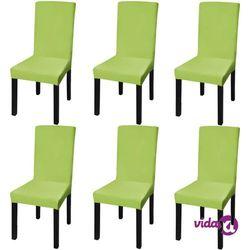 vidaXL Elastyczne pokrowce na krzesła w prostym stylu, 6 szt., zielone Darmowa wysyłka i zwroty