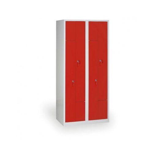 Szafki do przebieralni, Spawana Szafka ubraniowa Z, korpus szary, drzwi czerwone zamek cylindryczny