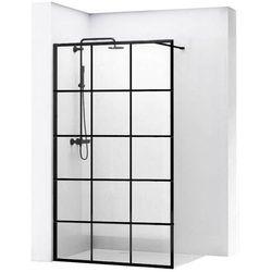 REA BLER 1 Ścianka prysznicowa 110cm, czarne profile + powłoka EASY CLEAN, loftowe