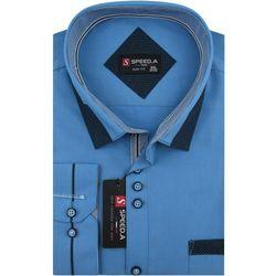 Koszula Męska Speed.A gładka niebieska na długi rękaw duże rozmiary D880