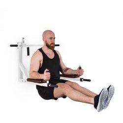 KLARFIT Bouncer MultiltiGym stacja do dipów i ćwiczeń na poręczach stacjonarna 200 kg stal biała