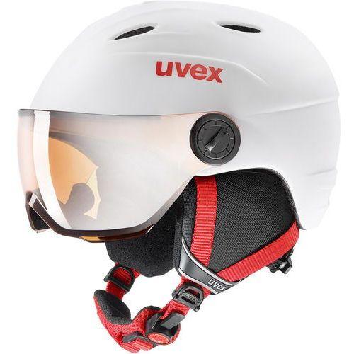 Kaski i gogle, UVEX Junior Visor Pro Kask Dzieci, white-red mat 54-56cm 2019 Kaski narciarskie