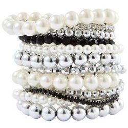 """Komplet bransoletek """"Perła"""" (12 sztuk) bonprix czarno-srebrny kolor"""