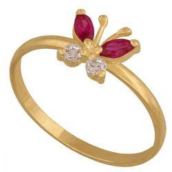 Młodzieżowy pierścionek w kształcie motylka z cyrkoniami i rubinami. (23759)
