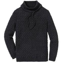 Sweter w warkocze z szerokim golfem Regular Fit bonprix antracytowy melanż