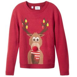 Sweter z bożonarodzeniowym motywem bonprix ciemnoczerwony