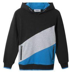 """Bluza z kapturem """"colour-blocking"""" bonprix czarno-jasnoszary melanż - niebieski"""