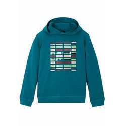 Bluza dziewczęca z kapturem, bawełna organiczna bonprix niebieskozielony morski