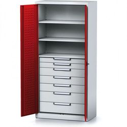Szafa warsztatowa MECHANIC, 1950 x 920 x 500 mm, 3 półki, 7 szuflad, czerwone drzwi
