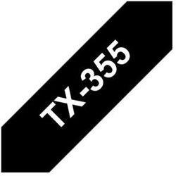 Brother TX-355 Taśma 24mm, laminowana czarna, biały nadruk