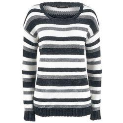 Sweter rozpinany w norweski wzór bonprix szary melanż - kremowy