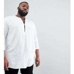 ASOS DESIGN Plus regular fit longline viscose shirt in white with v neck - White