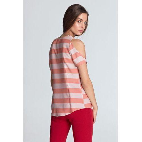 Bluzki, Bluzka z wycięciami na ramionach - pomarańcz/paski - B99