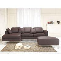 Narożniki, Sofa narożna P - skórzana - brązowa - sofa z pufą - kanapa OSLO