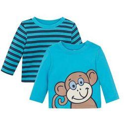 Koszulka niemowlęca z długim rękawem (2 szt.), bawełna organiczna bonprix turkusowo-niebieski