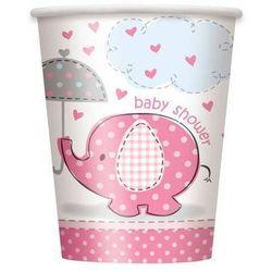 Kubeczki na Baby Shower Słonik z parasolem dla dziewczynki - 266 ml - 8 szt.