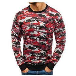 Bluza męska bez kaptura z nadrukiem moro-szaro-czerwona Denley TT28