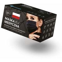 Maseczki i przyłbice ochronne, Czarne maseczki jednorazowe medyczne trójwarstwowe z filtrem (50szt)