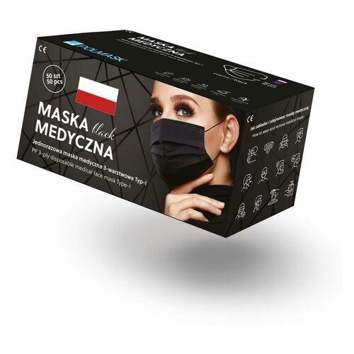 Maseczki i przyłbice ochronne, Czarne maseczki jednorazowe medyczne 3-warstowe z filtrem (50szt)