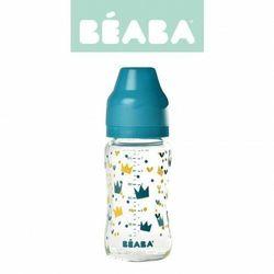 Butelka szklana szerokootworowa 240 ml yellow / blue crown, beaba