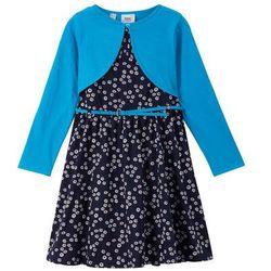 Sukienka dziewczęca + pasek + bolerko (3 części) bonprix czarno-niebieski