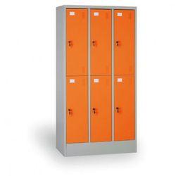 Szafka ubraniowa, 6 schowków, drzwi pomarańczowe, zamek cylindryczny