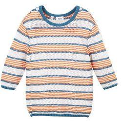 Sweter dziewczęcy w paski bonprix nektarynka - niebiesko-biel wełny w paski